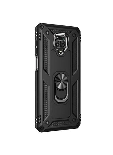 Microsonic Xiaomi Redmi Note 9 Pro Max Kılıf Military Ring Holder Siyah